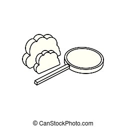 search magnifying glass with cloud computing
