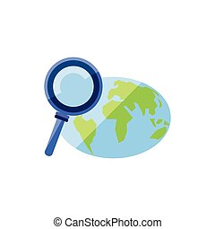search magnifying glass with planet earth