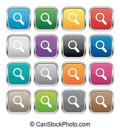 Search metallic square buttons