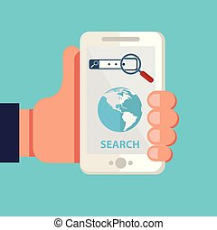 Search mobile application development or smartphone app programming. Interface elements for mobile apps concepts