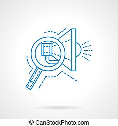 Search of advertising blue flat line vector icon