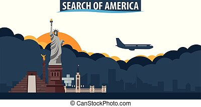 Search of America. Travel and Tourism banner. Clouds and sun with airplane on the background.
