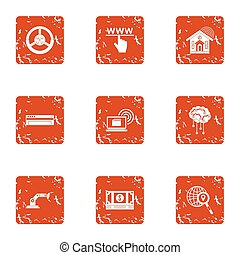Search of money icons set, grunge style