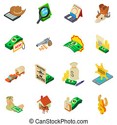 Search of money icons set, isometric style