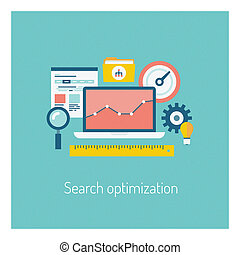 Flat design modern vector illustration of the SEO website searching optimization process with web page, laptop and other icons. Isolated on stylish color background