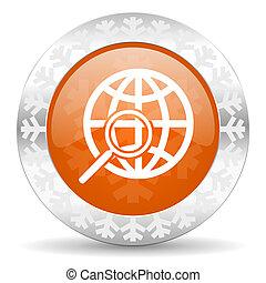 search orange icon, christmas button