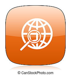 search orange square web design glossy icon