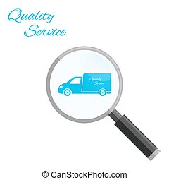 Search quality service Icon Vector - Search car, van,...