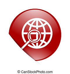 search red circle glossy web icon