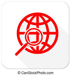 search red flat icon with long shadow on white background