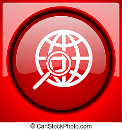 search red icon plastic glossy button