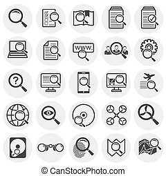Search related icons set on background for graphic and web design. Simple illustration. Internet concept symbol for website button or mobile app.