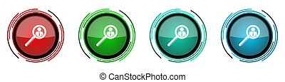 Search round glossy vector icons, human, person, job, man set of buttons for webdesign, internet and mobile phone applications in four colors options isolated on white background