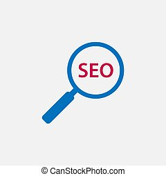 Search, seo icon. Vector illustration, flat design