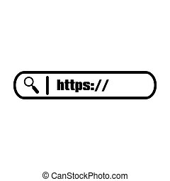 Search string Input field on white background. Magnifying glass with example of search bar. Stock Vector illustration.