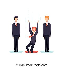 Search the best person from group, business competition, job seekers, unemployment concept vector Illustration