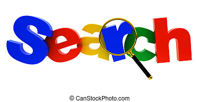 Search - The search text under a magnifier lens