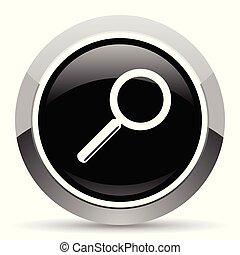 Search vector steel icon. Chrome border round web button....