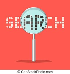 Search Vector Title with Magnifying Glass on Retro Red Background