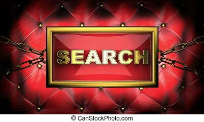 search  on velvet background