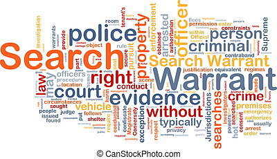 Search warrant background concept wordcloud - Background ...