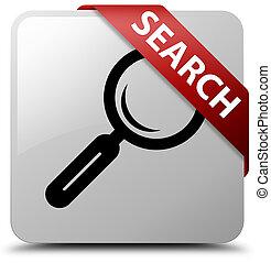 Search white square button red ribbon in corner