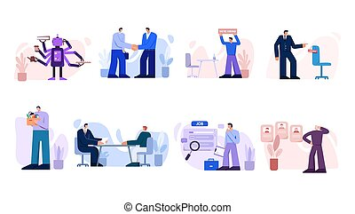 Search work set. Characters conclude business contract interview with new candidate search for online employment centers selecting right specialist from provided vector resumes.