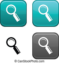 Searching button. - Searching square buttons. Black icon...