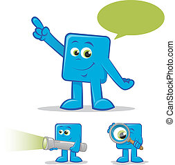 Searching Character - Illustration of a blue cartoon talking...