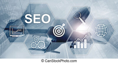 Searching Engine Optimizing SEO on abstract business background. Mixed media.