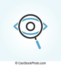 Searching Eye with magnifying glass investigation concept...