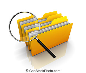 searching file or folder 3d illustration isolated on white...