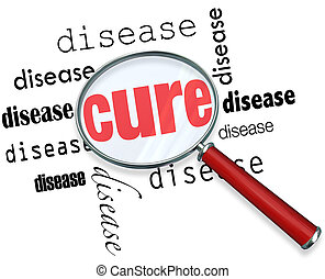 A magnifying glass hovering over several instances of the word Disease at the center of which is Cure