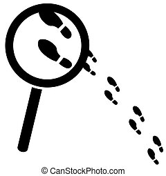 Concept illustration showing a magnifying glass over a few footprints