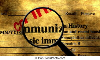 Searching for immunization history concept