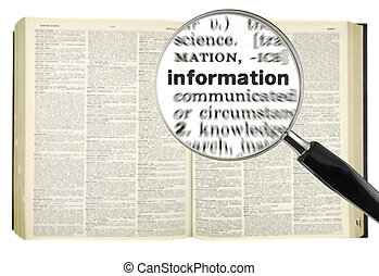 Searching for INFORMATION - A magnifying glass on the word ...