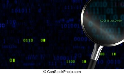 """""""Searching for information in a blue data binary code online by a magnifying glass """""""