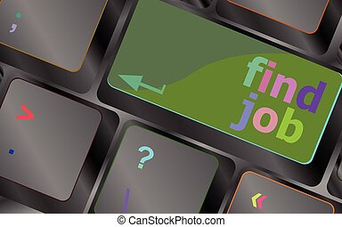 Searching for job on the internet. Jobs button on computer keyboard vector keyboard key. keyboard button. Vector illustration