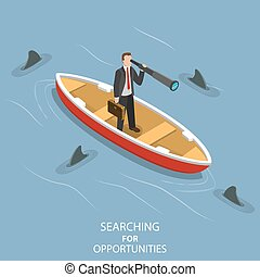 Searching for opportunities isometric flat vector concept.
