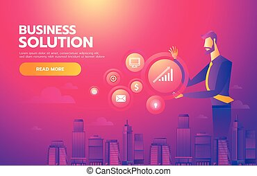 Searching for Opportunity. Illustration of a businessman looking and searching by technology to finding business solution. Business concept illustration