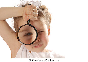 Searching - girl with magnifying glass