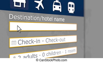 Searching hotel in Shanghai, China on an online booking site. Travel related 3D animation