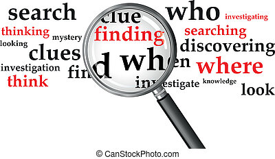 searching - a magnifying glass over a selection of words