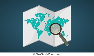 Searching locations on world map HD definition