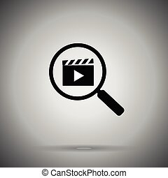 searching movie  icon . Magnifier and movie clap board