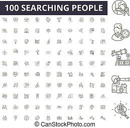 Searching people line icons, signs, vector set, outline illustration concept