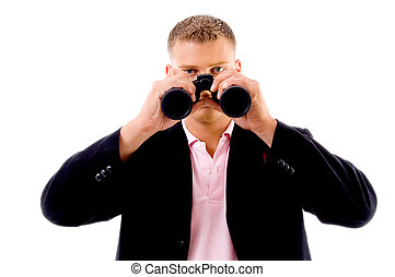 searching - portrait of businessman with binoculars