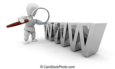 Searching the web - 3D rendered image depicting searching...