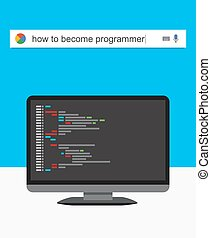 Searching the web for information about becoming a programmer vector
