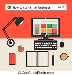 Searching the web for information how to start a small business vector